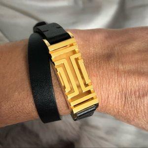 Tory Burch Fitbit Flex Wrap Bracelet Black & Gold